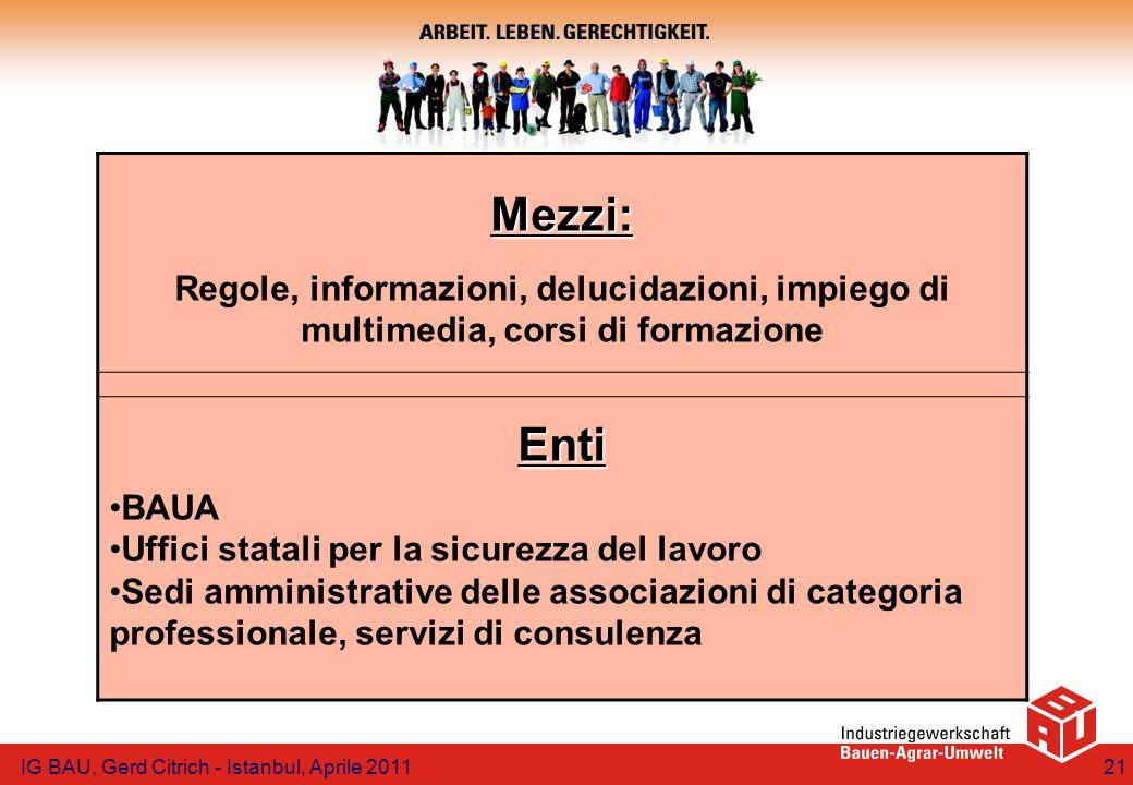 Mezzi: Regole, informazioni, delucidazioni, impiego di multimedia, corsi di formazione Enti BAUA Uffici statali per la sicurezza del lavoro Sedi ammin