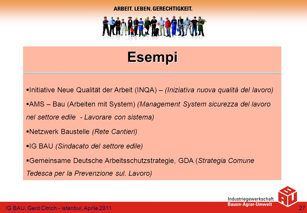 Esempi Initiative Neue Qualität der Arbeit (INQA) – (Iniziativa nuova qualità del lavoro) AMS – Bau (Arbeiten mit System) (Management System sicurezza