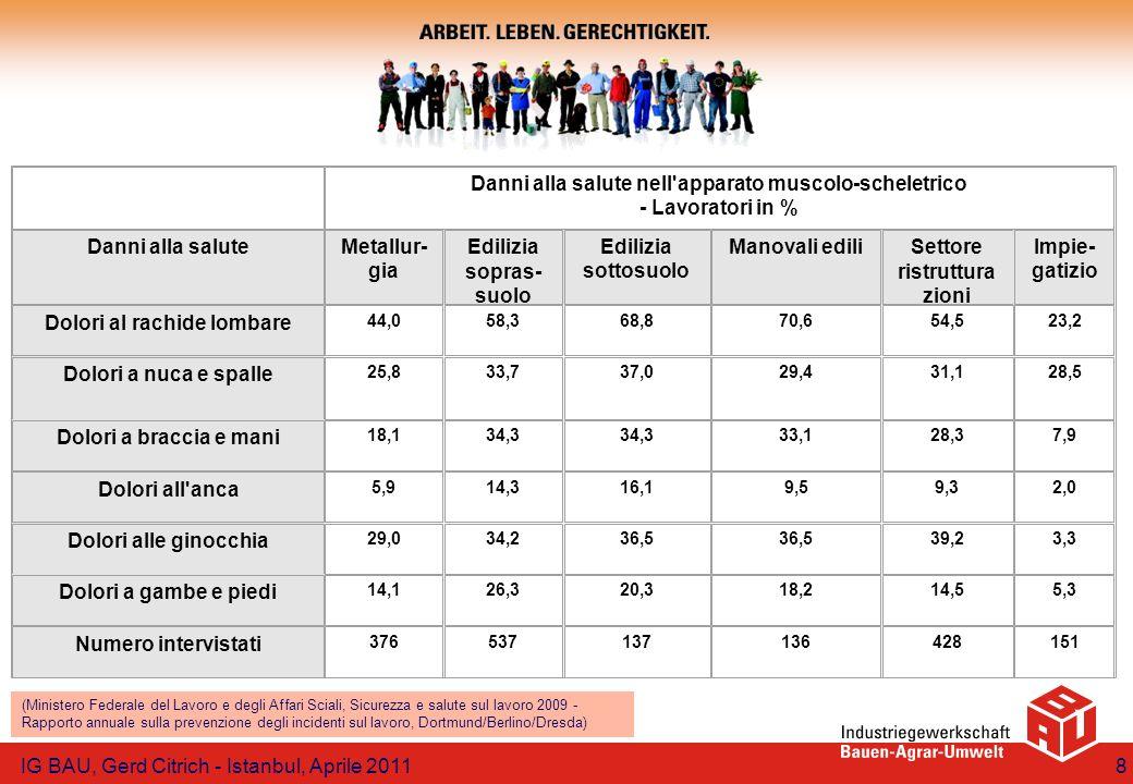 IG BAU, Gerd Citrich - Istanbul, Aprile 20119 (Ministero Federale del Lavoro e degli Affari Sciali, Sicurezza e salute sul lavoro 2009 - Rapporto annuale sulla prevenzione degli incidenti sul lavoro, Dortmund/Berlino/Dresda) apprendisti lavoratoriLav.