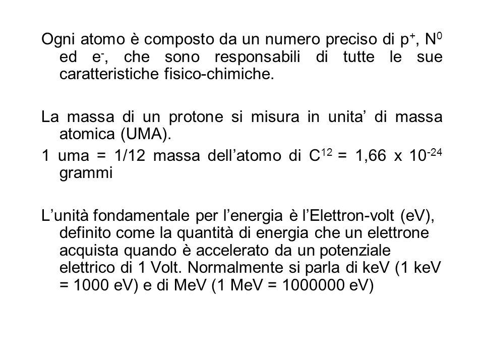 Nellatomo si distinguono un nucleo, fatto da p +, N 0 e particelle subnucleari, ed un guscio esterno di e -, la nube elettronica In rapporto alla loro energia, gli e - si dispongono intorno al nucleo in orbite specifiche dette orbitali che possono ospitare al massimo due e - ciascuno, purchè essi abbiano rotazioni diverse (spin) Nellinsieme latomo è neutro quando ha intorno a sé tutti i propri e - mentre quando ne perde o acquista qualcuno diviene ione (processo di ionizzazione