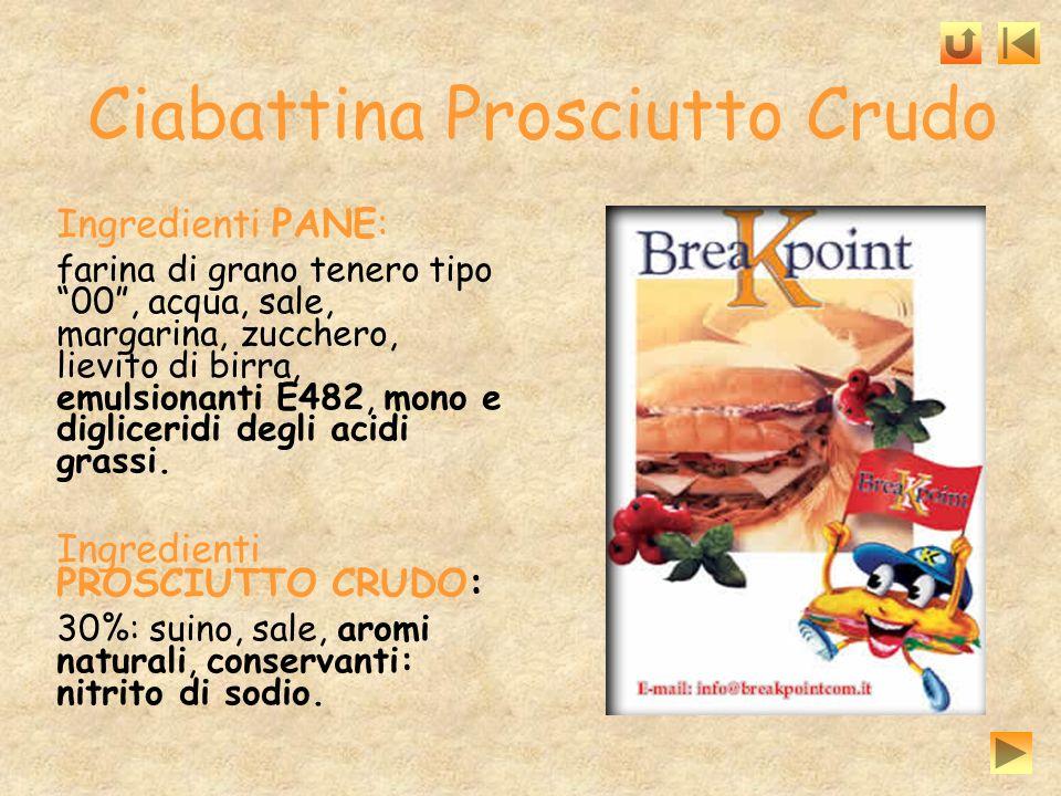 Ciabattina Prosciutto Crudo Ingredienti PANE: farina di grano tenero tipo 00, acqua, sale, margarina, zucchero, lievito di birra, emulsionanti E482, m