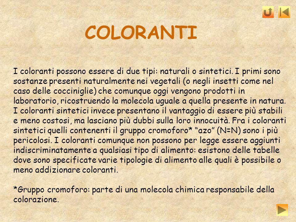 I coloranti possono essere di due tipi: naturali o sintetici. I primi sono sostanze presenti naturalmente nei vegetali (o negli insetti come nel caso