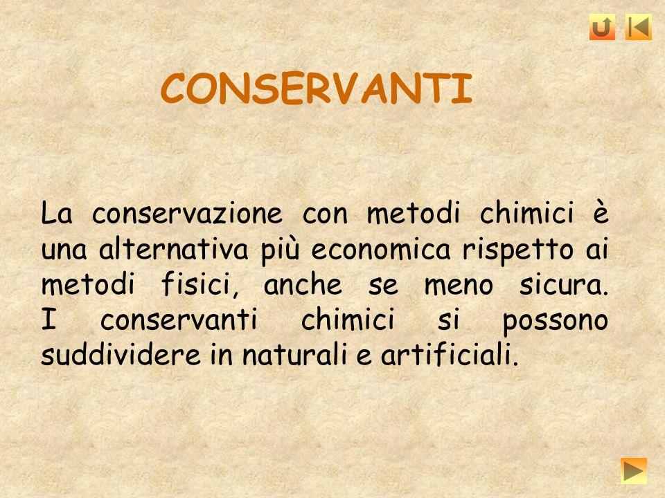 CONSERVANTI La conservazione con metodi chimici è una alternativa più economica rispetto ai metodi fisici, anche se meno sicura. I conservanti chimici