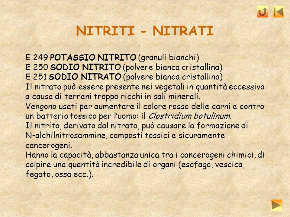 NITRITI - NITRATI E 249 POTASSIO NITRITO (granuli bianchi) E 250 SODIO NITRITO (polvere bianca cristallina) E 251 SODIO NITRATO (polvere bianca crista