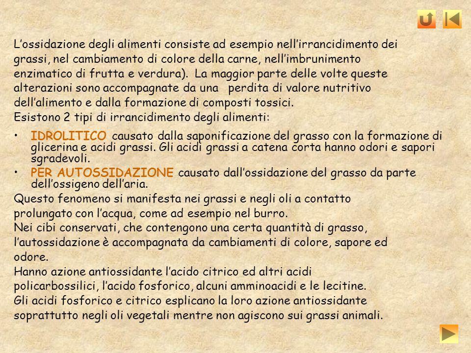 Lossidazione degli alimenti consiste ad esempio nellirrancidimento dei grassi, nel cambiamento di colore della carne, nellimbrunimento enzimatico di f