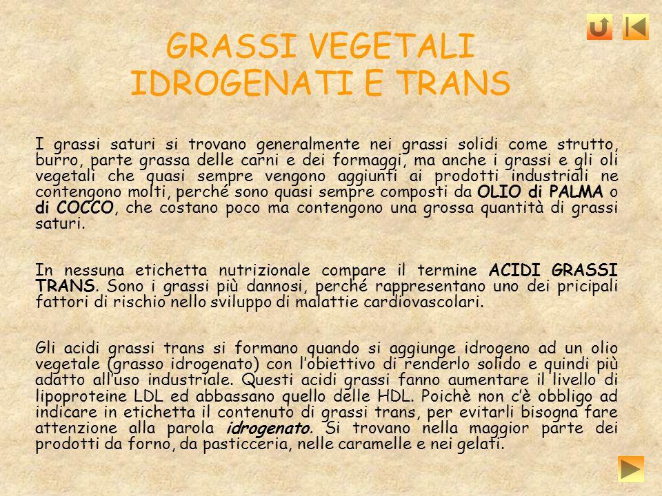 GRASSI VEGETALI IDROGENATI E TRANS I grassi saturi si trovano generalmente nei grassi solidi come strutto, burro, parte grassa delle carni e dei forma