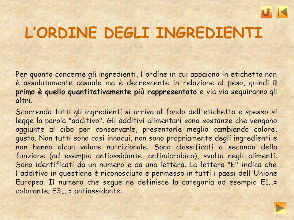 Per quanto concerne gli ingredienti, l'ordine in cui appaiono in etichetta non è assolutamente casuale ma è decrescente in relazione al peso, quindi i
