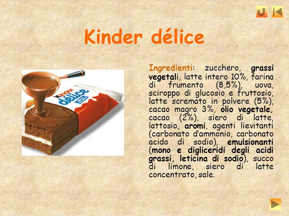 Kinder délice Ingredienti: zucchero, grassi vegetali, latte intero 10%, farina di frumento (8,5%), uova, sciroppo di glucosio e fruttosio, latte screm