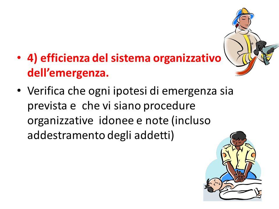 4) efficienza del sistema organizzativo dellemergenza.