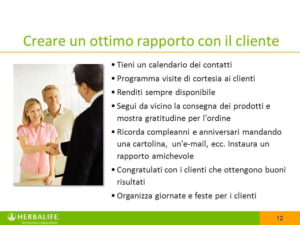 12 Creare un ottimo rapporto con il cliente Tieni un calendario dei contatti Programma visite di cortesia ai clienti Renditi sempre disponibile Segui