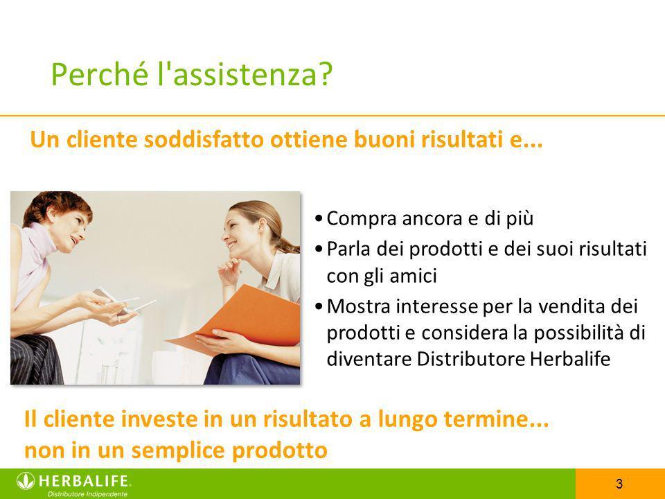 3 Perché l'assistenza? Compra ancora e di più Parla dei prodotti e dei suoi risultati con gli amici Mostra interesse per la vendita dei prodotti e con
