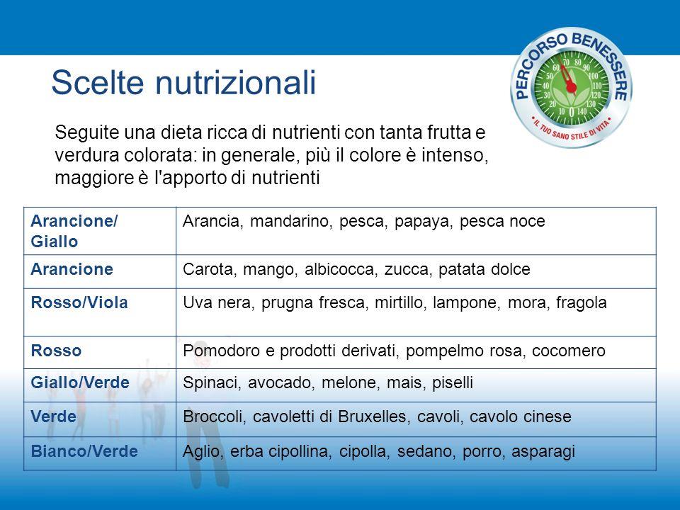 Scelte nutrizionali Arancione/ Giallo Arancia, mandarino, pesca, papaya, pesca noce ArancioneCarota, mango, albicocca, zucca, patata dolce Rosso/Viola