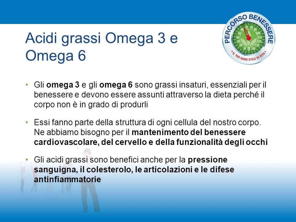 Acidi grassi Omega 3 e Omega 6 Gli omega 3 e gli omega 6 sono grassi insaturi, essenziali per il benessere e devono essere assunti attraverso la dieta
