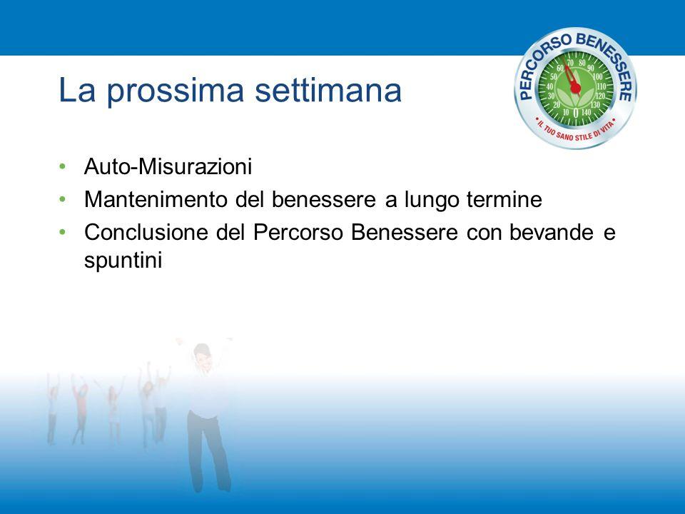 La prossima settimana Auto-Misurazioni Mantenimento del benessere a lungo termine Conclusione del Percorso Benessere con bevande e spuntini