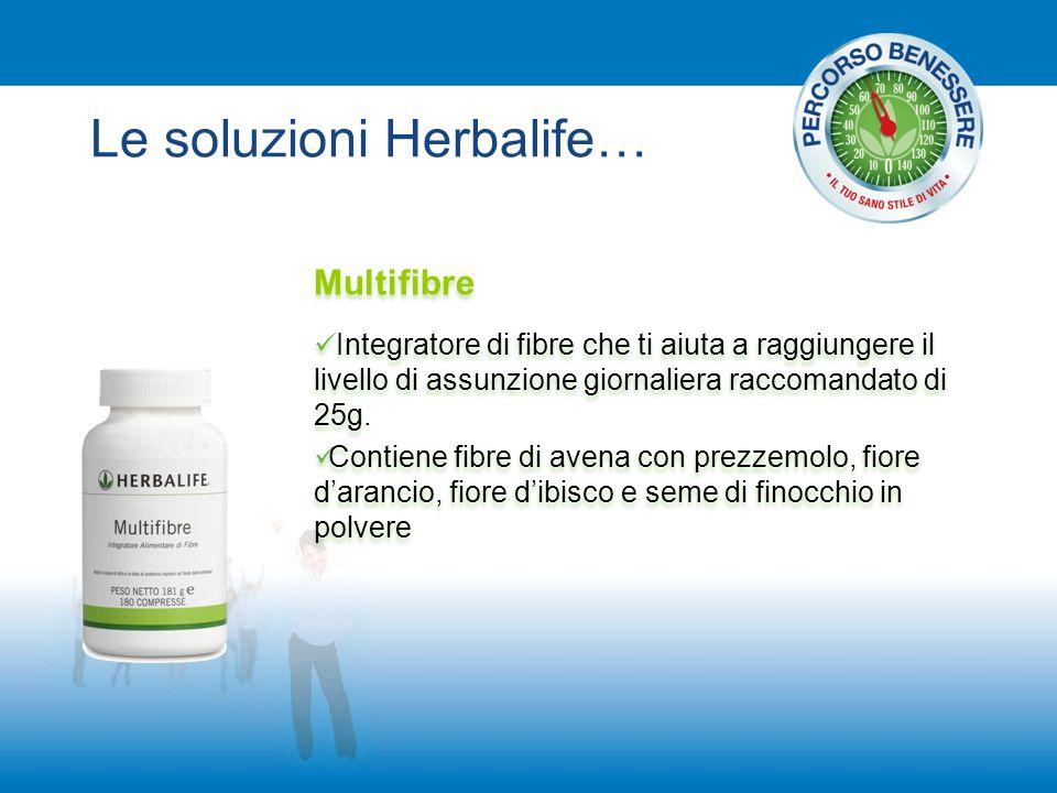 Le soluzioni Herbalife… Multifibre Integratore di fibre che ti aiuta a raggiungere il livello di assunzione giornaliera raccomandato di 25g. Contiene