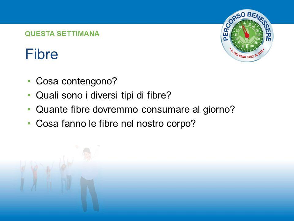 Fibre QUESTA SETTIMANA Cosa contengono? Quali sono i diversi tipi di fibre? Quante fibre dovremmo consumare al giorno? Cosa fanno le fibre nel nostro