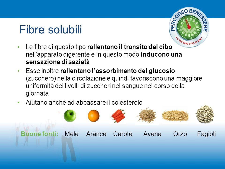 Fibre solubili Le fibre di questo tipo rallentano il transito del cibo nellapparato digerente e in questo modo inducono una sensazione di sazietà Esse