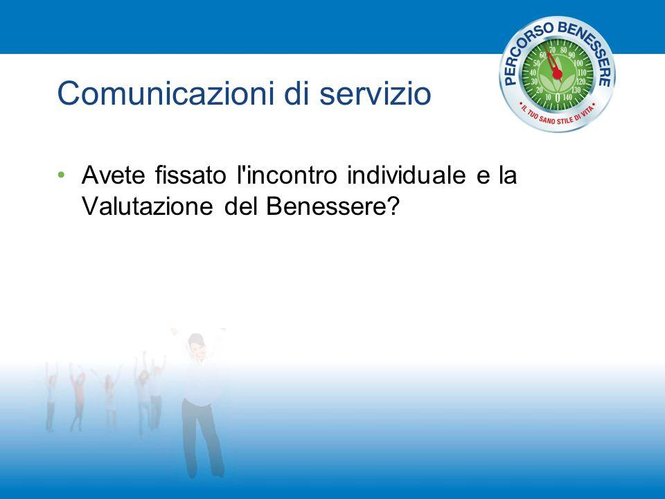 Comunicazioni di servizio Avete fissato l incontro individuale e la Valutazione del Benessere?