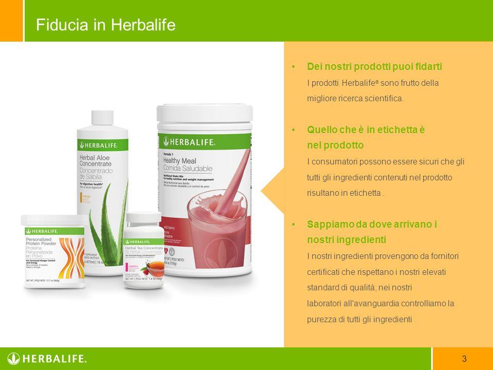 Dei nostri prodotti puoi fidarti I prodotti Herbalife ® sono frutto della migliore ricerca scientifica. Quello che è in etichetta è nel prodotto I con
