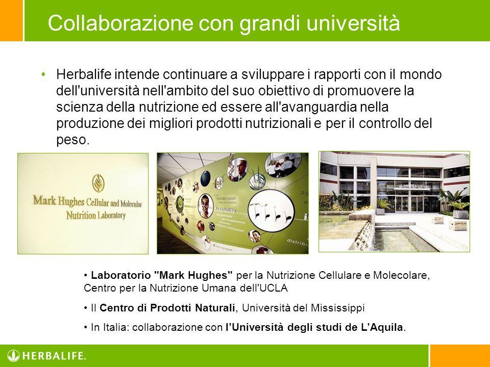 Collaborazione con grandi università Herbalife intende continuare a sviluppare i rapporti con il mondo dell'università nell'ambito del suo obiettivo d