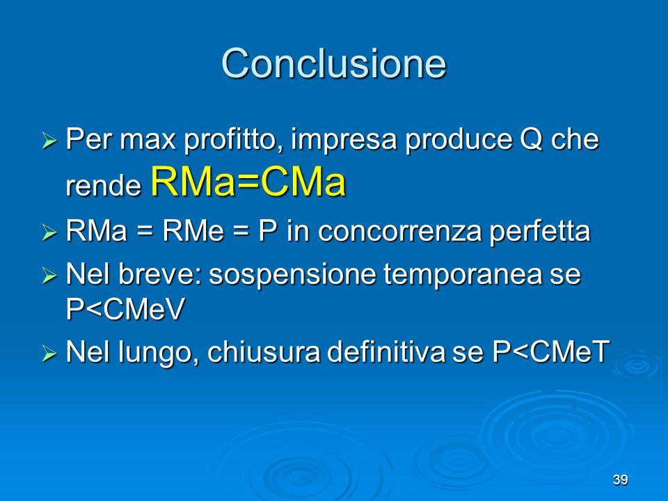 39 Conclusione Per max profitto, impresa produce Q che rende RMa=CMa Per max profitto, impresa produce Q che rende RMa=CMa RMa = RMe = P in concorrenza perfetta RMa = RMe = P in concorrenza perfetta Nel breve: sospensione temporanea se P<CMeV Nel breve: sospensione temporanea se P<CMeV Nel lungo, chiusura definitiva se P<CMeT Nel lungo, chiusura definitiva se P<CMeT