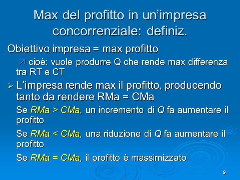 9 Max del profitto in unimpresa concorrenziale: definiz.