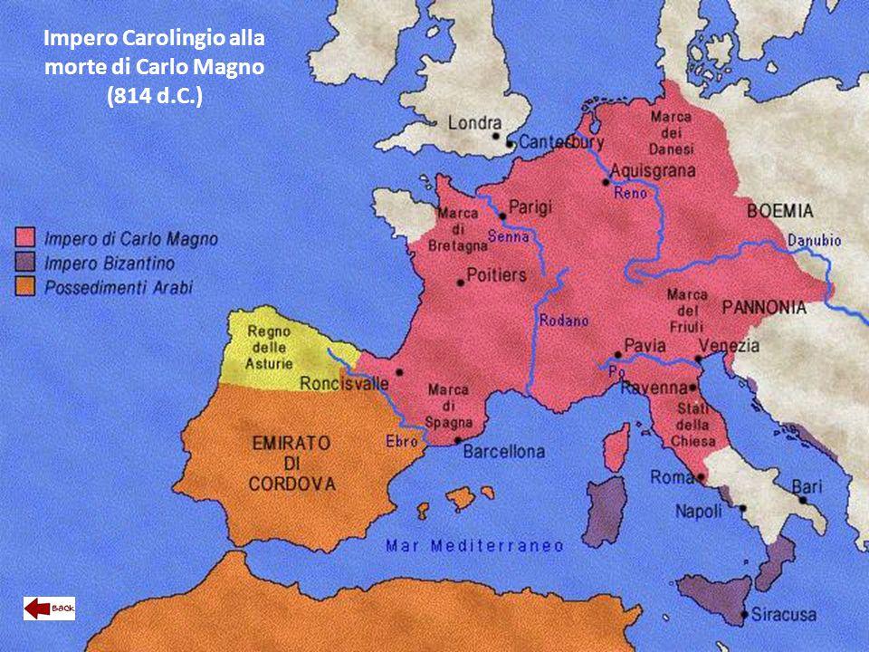 Impero Carolingio alla morte di Carlo Magno (814 d.C.)