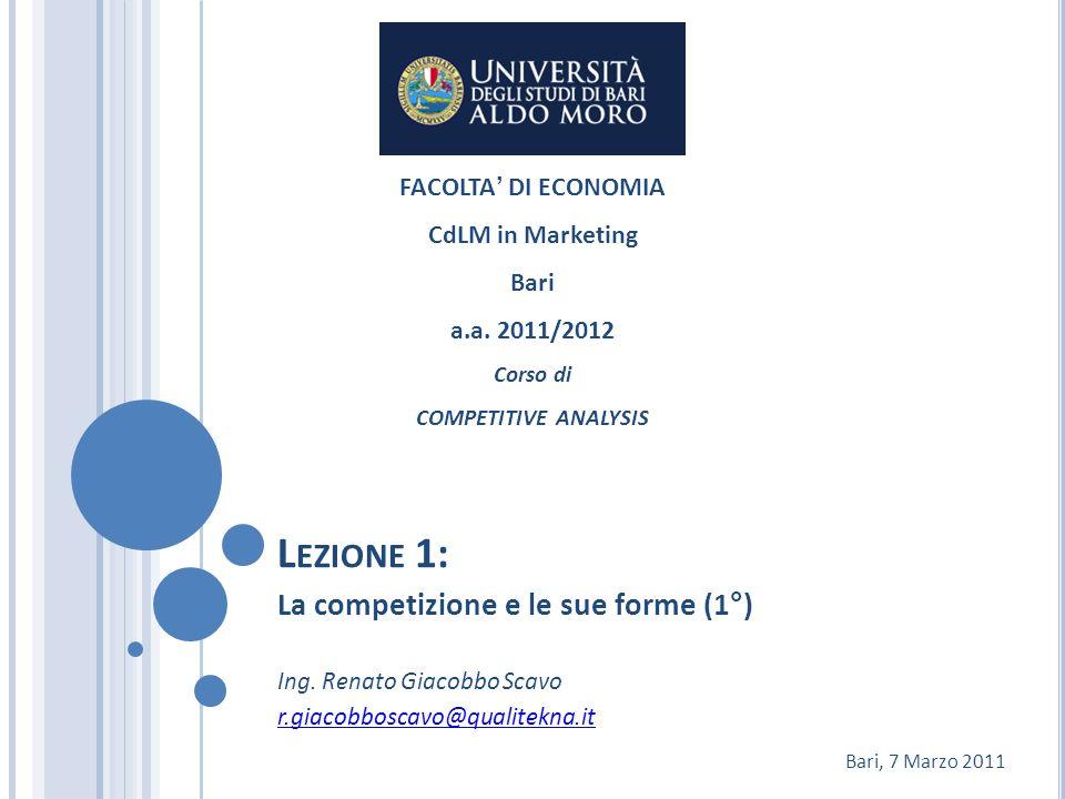 O BIETTIVI DEL CORSO Il corso si focalizza sullanalisi competitiva esaminando le principali problematiche che unimpresa deve fronteggiare per raggiungere e mantenere la propria posizione competitiva.