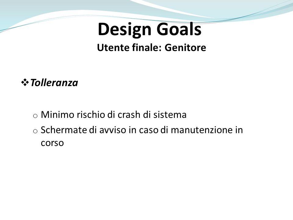 Design Goals Utente finale: Genitore Tolleranza o Minimo rischio di crash di sistema o Schermate di avviso in caso di manutenzione in corso