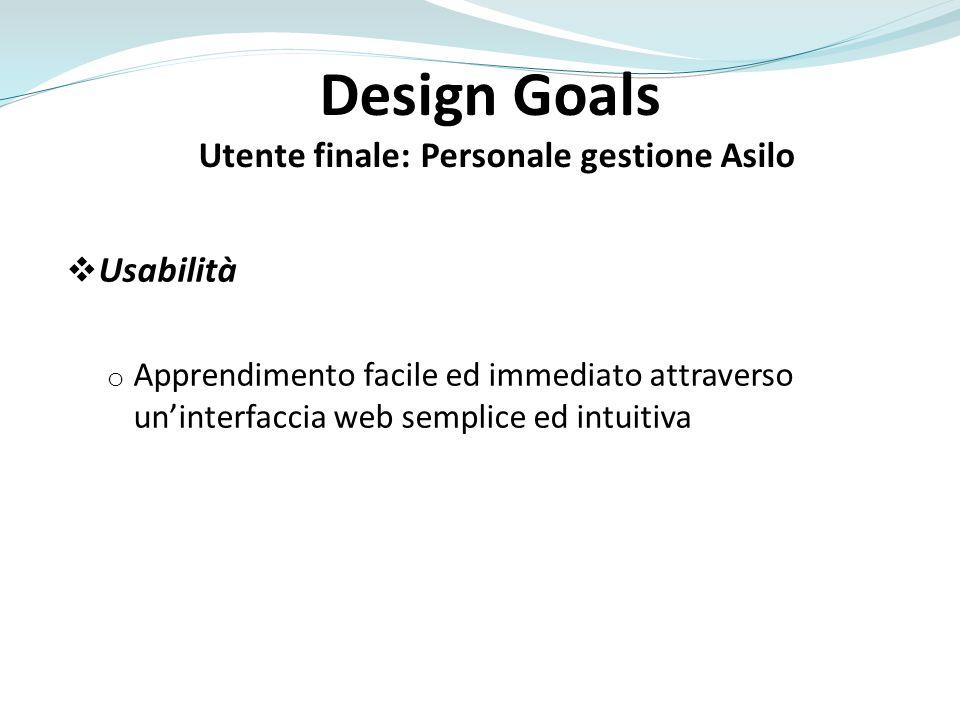 Design Goals Utente finale: Personale gestione Asilo Affidabilità o Sistema sempre funzionante e disponibile Evitare limpossibilità di compiere operazioni gestionali o Tolleranza e notifica degli errori