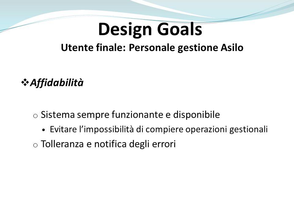 Design Goals Utente finale: Personale gestione Asilo Affidabilità o Sistema sempre funzionante e disponibile Evitare limpossibilità di compiere operaz