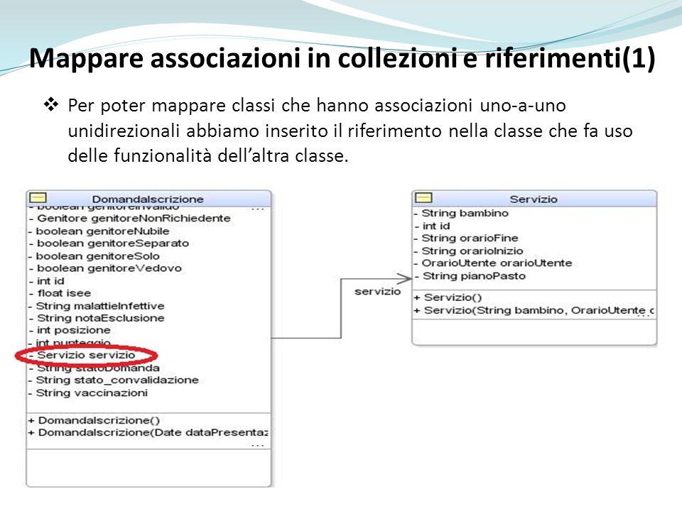 Mappare associazioni in collezioni e riferimenti(1) Per poter mappare classi che hanno associazioni uno-a-uno unidirezionali abbiamo inserito il riferimento nella classe che fa uso delle funzionalità dellaltra classe.