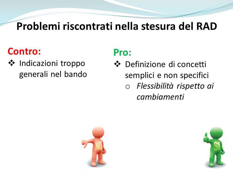 Problemi riscontrati nella stesura del RAD Contro: Indicazioni troppo generali nel bando Pro: Definizione di concetti semplici e non specifici o Flessibilità rispetto ai cambiamenti