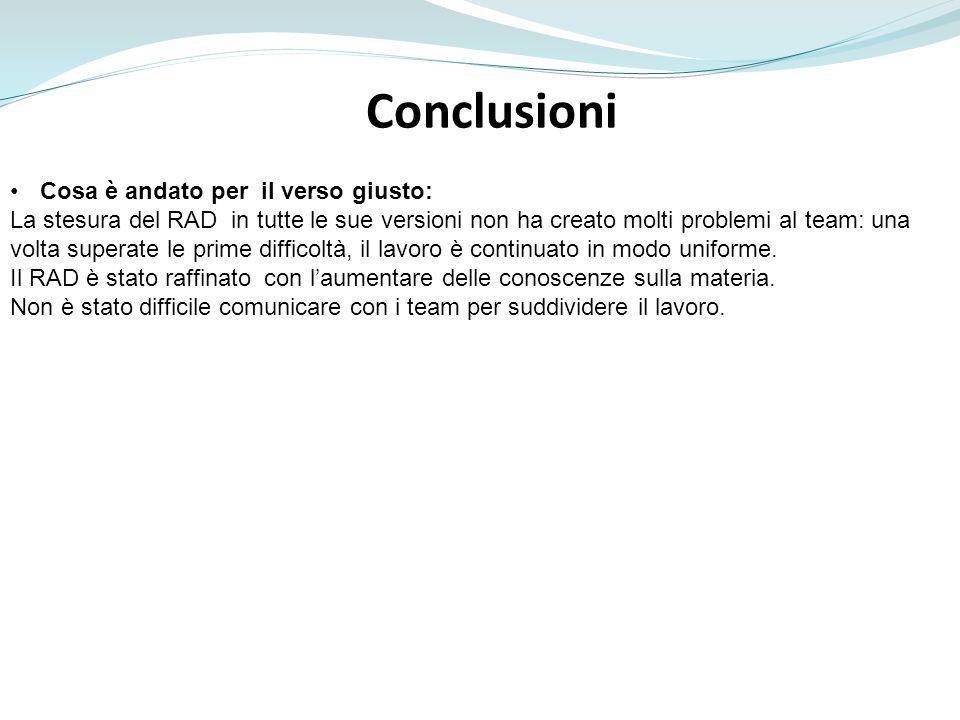 Conclusioni Cosa è andato per il verso giusto: La stesura del RAD in tutte le sue versioni non ha creato molti problemi al team: una volta superate le prime difficoltà, il lavoro è continuato in modo uniforme.
