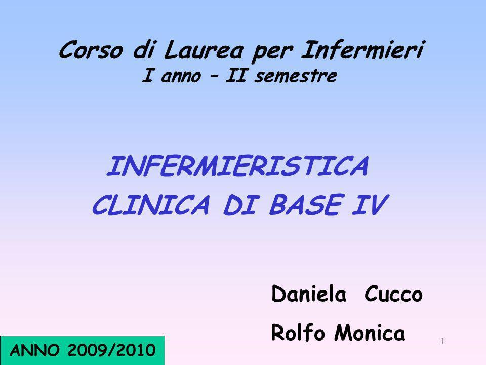 1 Corso di Laurea per Infermieri I anno – II semestre INFERMIERISTICA CLINICA DI BASE IV Daniela Cucco Rolfo Monica ANNO 2009/2010