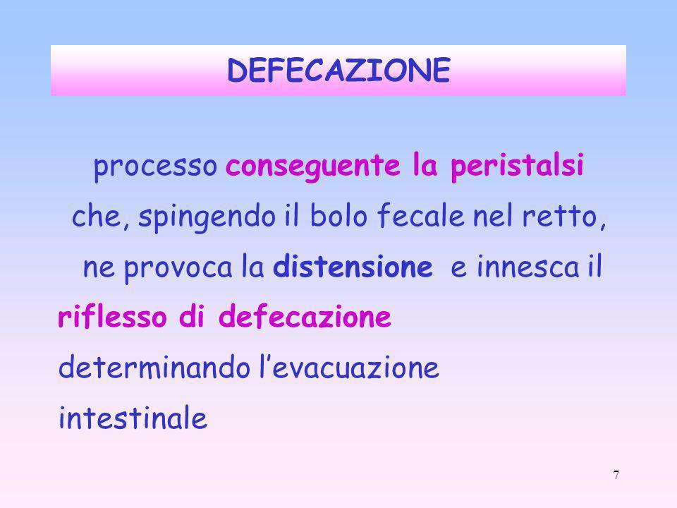 7 DEFECAZIONE processo conseguente la peristalsi che, spingendo il bolo fecale nel retto, ne provoca la distensione e innesca il riflesso di defecazione determinando levacuazione intestinale