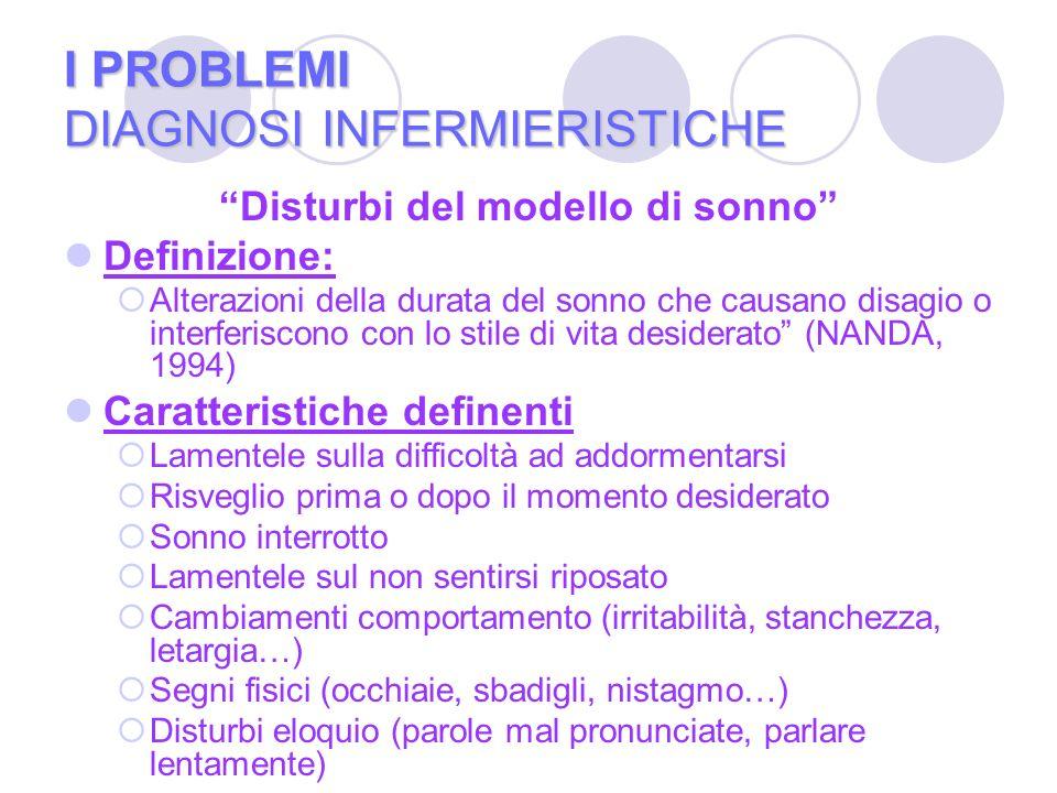 I PROBLEMI DIAGNOSI INFERMIERISTICHE Disturbi del modello di sonno Definizione: Alterazioni della durata del sonno che causano disagio o interferiscon