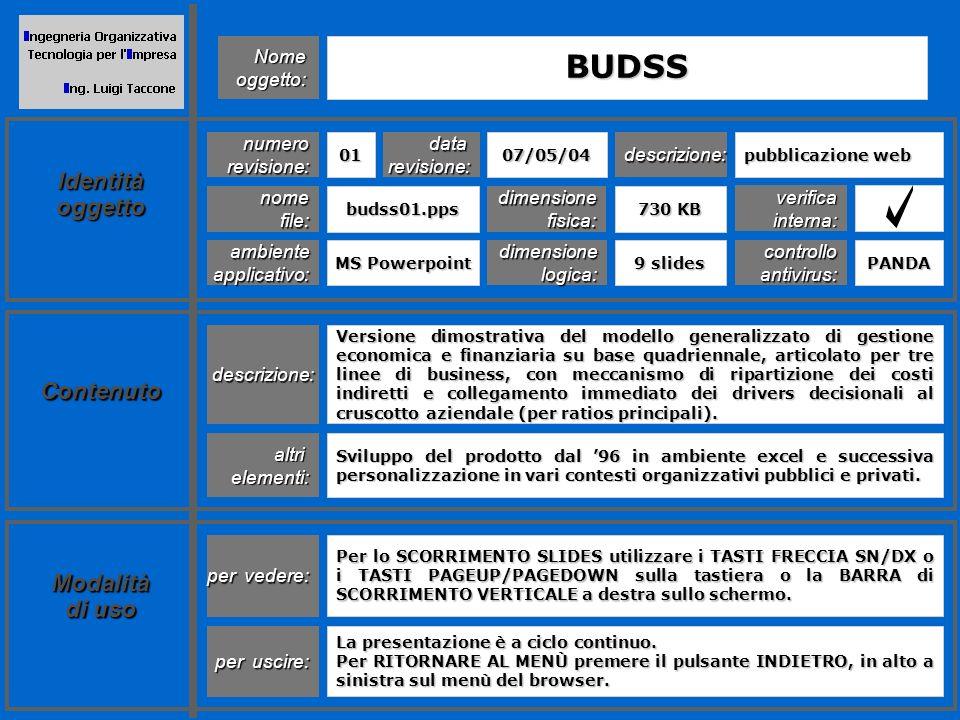BUDSS è un modello generalizzato di gestione economica e finanziaria che permette di valutare rapidamente landamento aziendale nellarco di un periodo di medio termine.