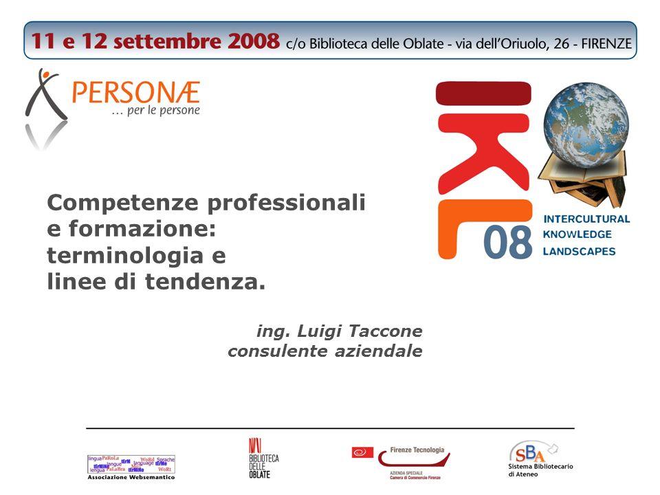 Competenze professionali e formazione: terminologia e linee di tendenza. ing. Luigi Taccone consulente aziendale