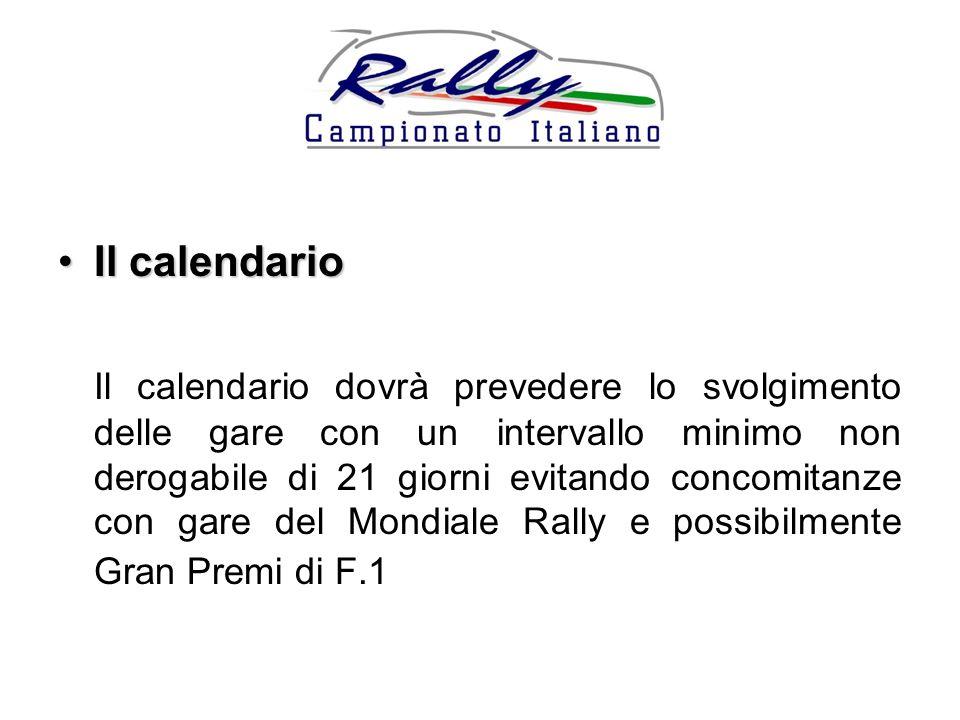 Il calendarioIl calendario Il calendario dovrà prevedere lo svolgimento delle gare con un intervallo minimo non derogabile di 21 giorni evitando concomitanze con gare del Mondiale Rally e possibilmente Gran Premi di F.1