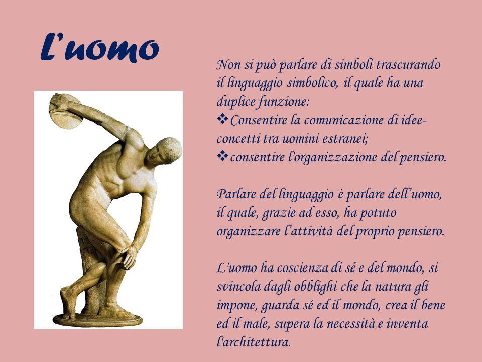Luomo Non si può parlare di simboli trascurando il linguaggio simbolico, il quale ha una duplice funzione: Consentire la comunicazione di idee- concet