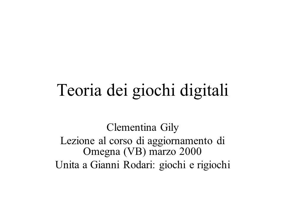Teoria dei giochi digitali Clementina Gily Lezione al corso di aggiornamento di Omegna (VB) marzo 2000 Unita a Gianni Rodari: giochi e rigiochi