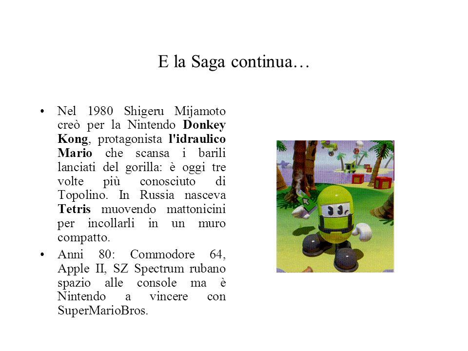E la Saga continua… Nel 1980 Shigeru Mijamoto creò per la Nintendo Donkey Kong, protagonista l'idraulico Mario che scansa i barili lanciati del gorill