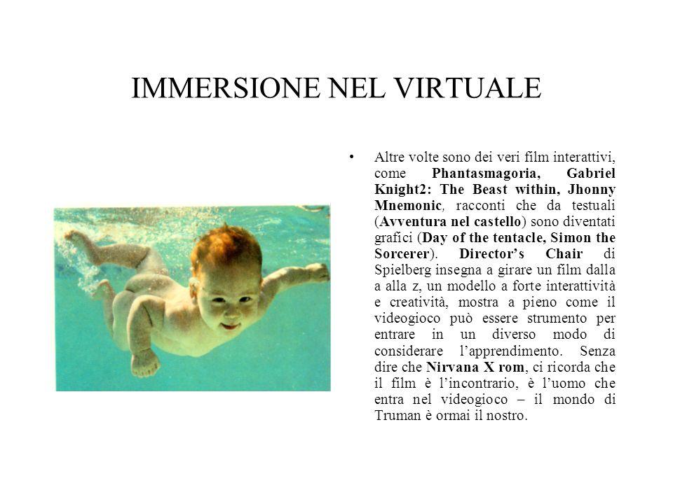 IMMERSIONE NEL VIRTUALE Altre volte sono dei veri film interattivi, come Phantasmagoria, Gabriel Knight2: The Beast within, Jhonny Mnemonic, racconti