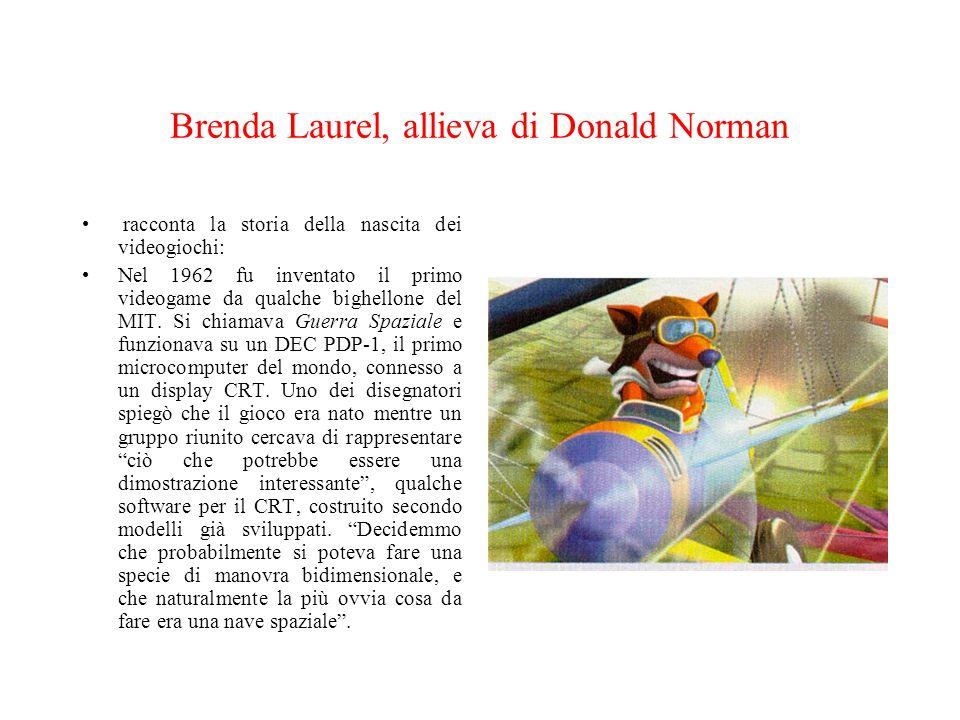 Brenda Laurel, allieva di Donald Norman racconta la storia della nascita dei videogiochi: Nel 1962 fu inventato il primo videogame da qualche bighello