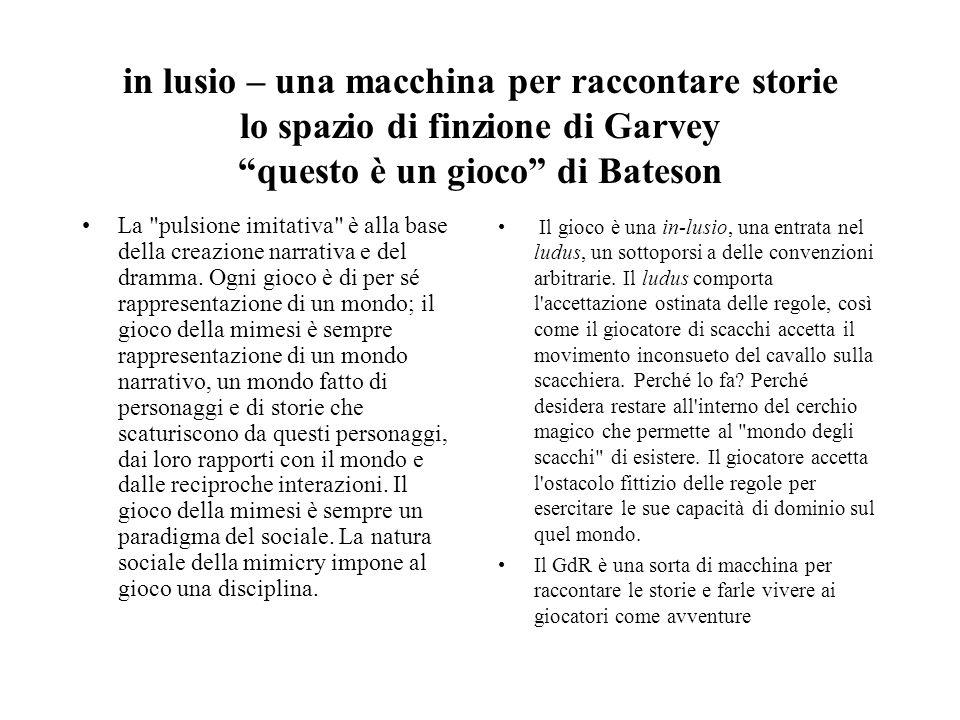 in lusio – una macchina per raccontare storie lo spazio di finzione di Garvey questo è un gioco di Bateson La