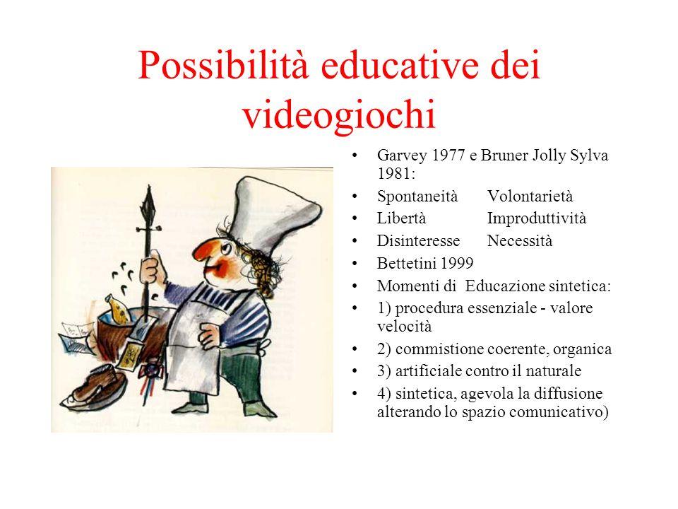 Possibilità educative dei videogiochi Garvey 1977 e Bruner Jolly Sylva 1981: SpontaneitàVolontarietà LibertàImproduttività DisinteresseNecessità Bette