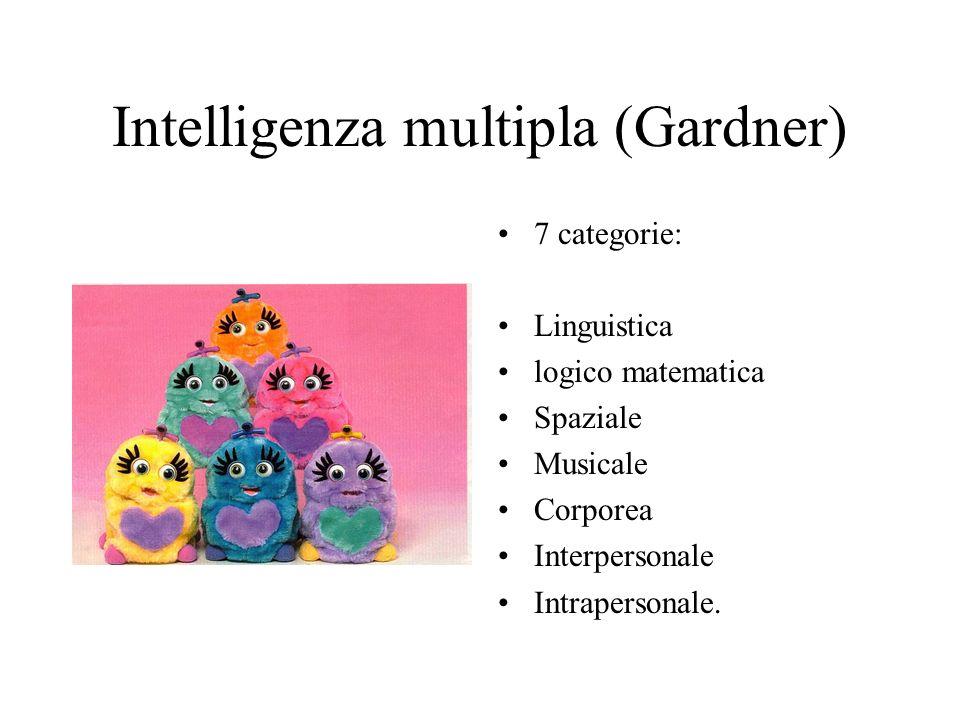 Intelligenza multipla (Gardner) 7 categorie: Linguistica logico matematica Spaziale Musicale Corporea Interpersonale Intrapersonale.