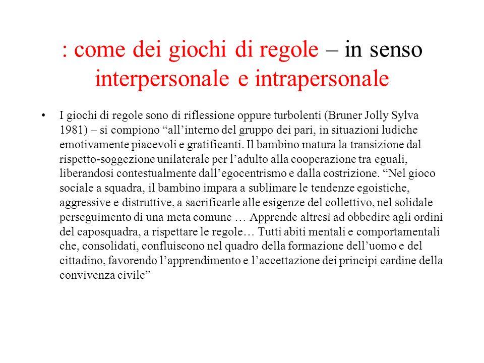 : come dei giochi di regole – in senso interpersonale e intrapersonale I giochi di regole sono di riflessione oppure turbolenti (Bruner Jolly Sylva 19