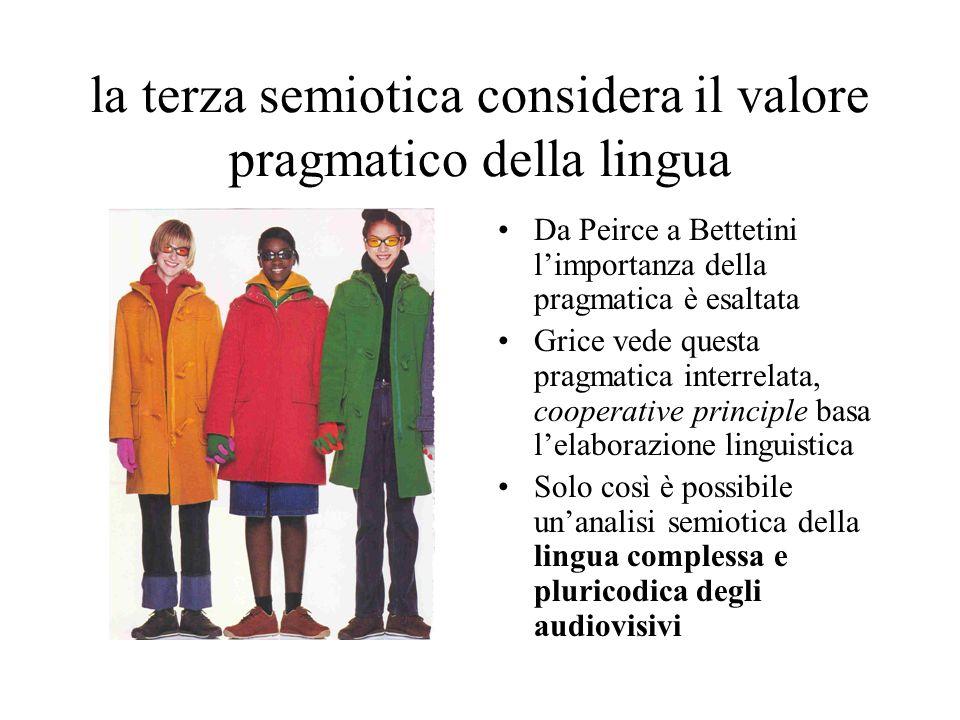 la terza semiotica considera il valore pragmatico della lingua Da Peirce a Bettetini limportanza della pragmatica è esaltata Grice vede questa pragmat